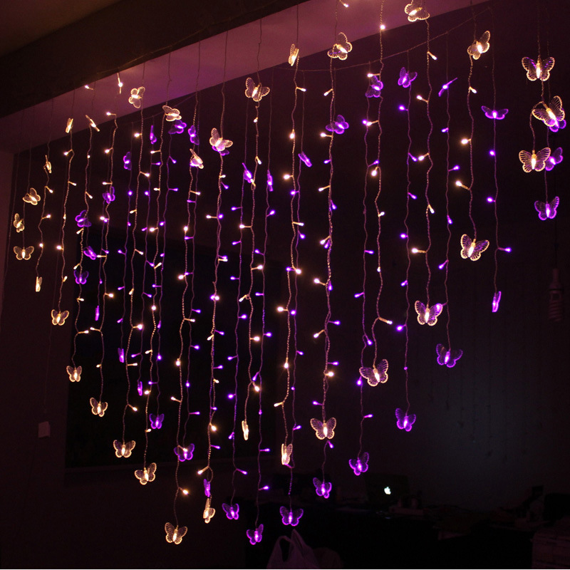 LED Heart Shape Curtain Lights Crystal Butterfly Showcase Decorative String Lights Heart Wedding Decoration LED Colored Lamp