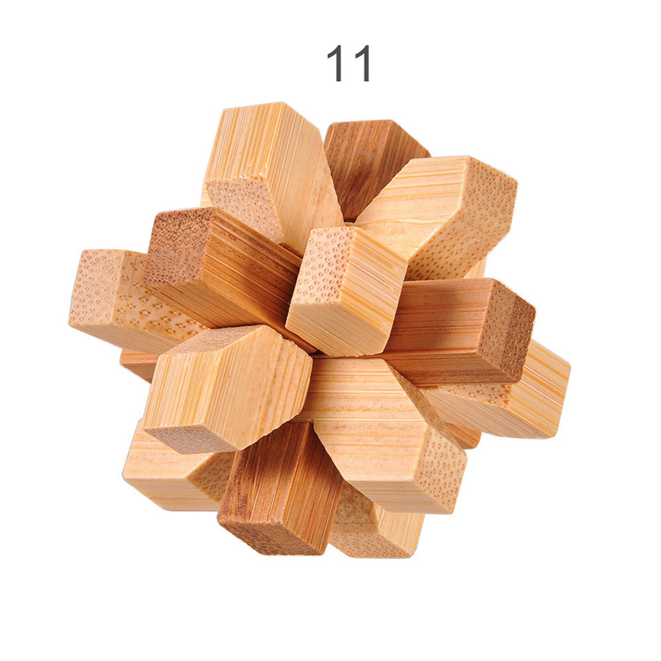IQ Brain Teaser Kong Ming Lock Wooden Interlocking Burr 3D Puzzles Game Toy A8A