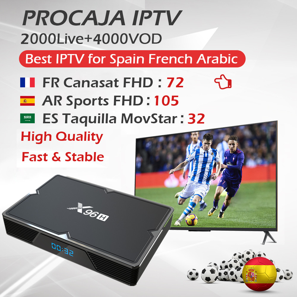 PROCAJA <font><b>IPTV</b></font> Portugal French Spanish <font><b>IPTV</b></font> Subscription+<font><b>Android</b></font> 9.0 <font><b>TV</b></font> <font><b>Box</b></font> H603 Quad-core <font><b>Bluetooth</b></font> 4.1 Dual WiFi 6K Set Top <font><b>Box</b></font> image