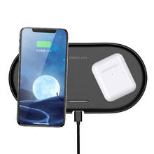 QI Wireless Charger Dock Station For Apple Airpods 2 iPhone 8 8Plus X XS XR Xs 11 Pro Max Samsung S10 Pixel 4 XL Double Charging(China)