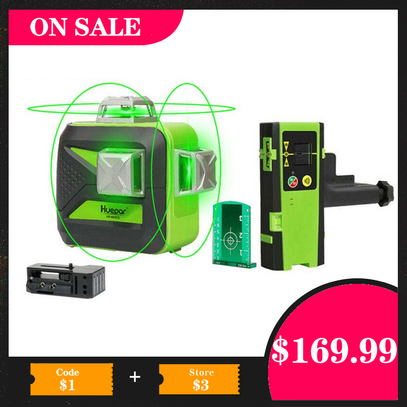 Target Plate New 3D 12 Cross Green Line Rotary Laser Level Self Leveling 4°±1°