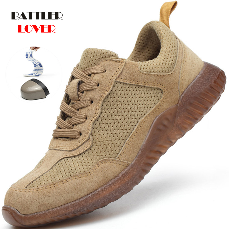 Men Summer Safety Protection Protector Boots Mens Genuine Leather Steel Toe Shoes Breathable Deodorant Non-slip Work Shoes 36-45