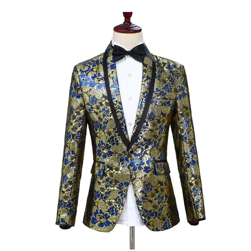 NEW Men Floral Embroidery Show Costume Outfits Shawl Collar Slim Fit Formal Dress Suit Stage Performance Wedding MC 2 Piece Set
