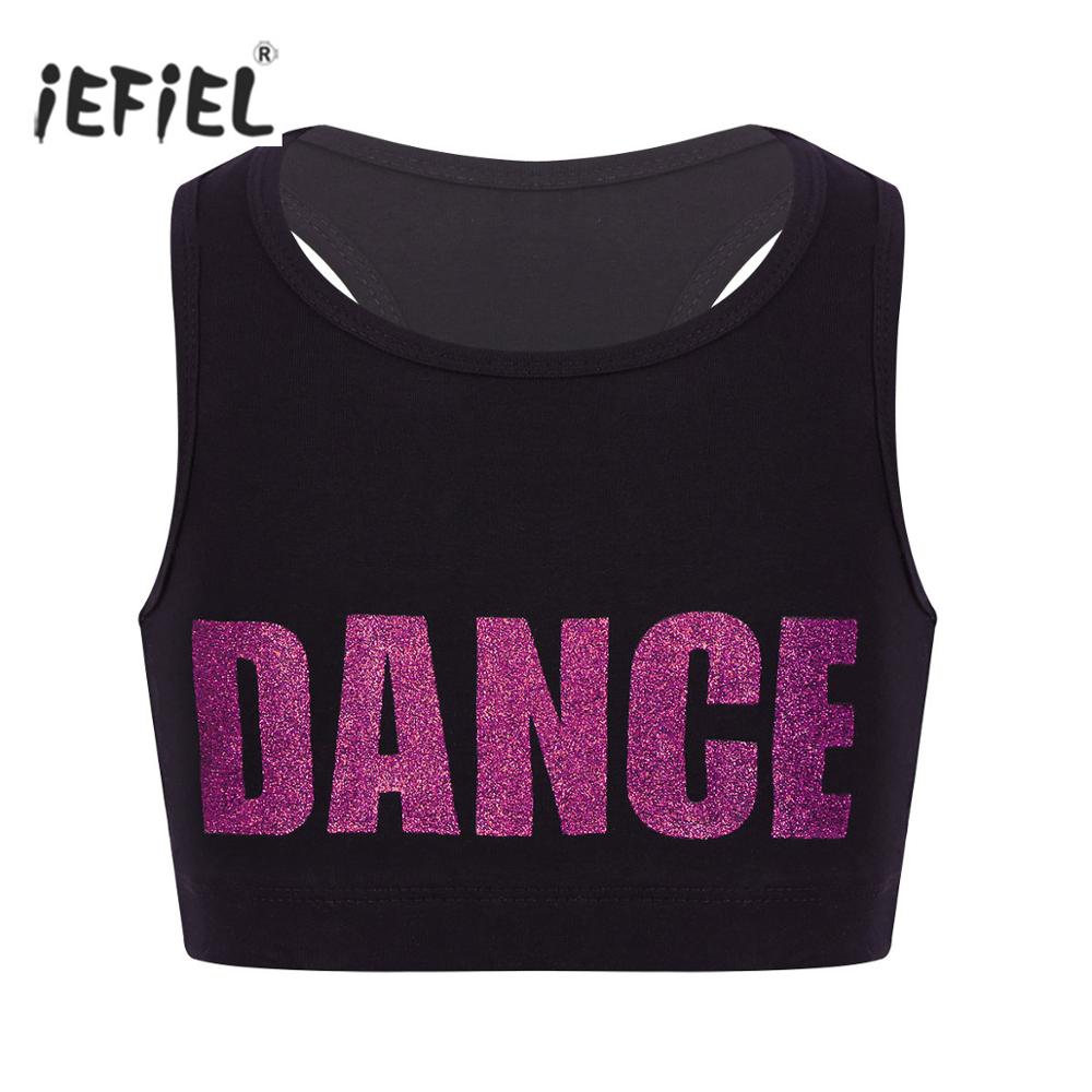 Fashion Crop Top for Girls Shiny Letter Print Tank Top Dance Stage Performance Sports Bra Teens Child Workout Dancewear Clothes