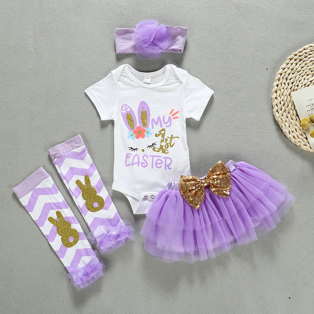 Rabbit Bunny Baby Girl Clothes My First Easter Day Rabbit Bunny Romper Tutu Skirt Leg Warmmer Hairband For Newborn Infant Baby | Happy Baby Mama