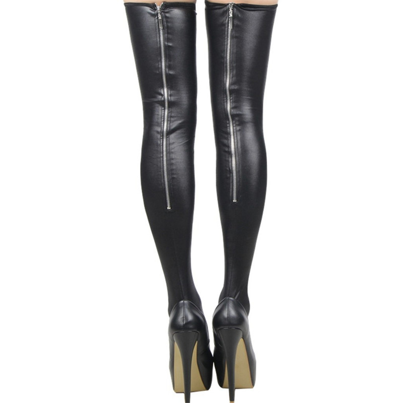 Sexy Wetlook Zipper Stockings Leg Wear Women Clubwear PVC Latex Stockings Faux Leather Fetish Costumes Hot Erotic Bodystocking