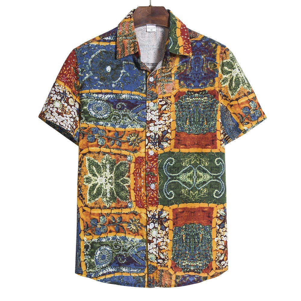 Vintage Men Hawaiian Shirts 2020 Brand Casual Slim Fit Shirt Short Sleeve Print Cotton Shirt Mens Chemise Homme