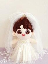 20cm Baby Puppe Kleidung Hochzeit Kleid Weiß Brautkleider Schleier Für EXO Sterne Puppen Spielzeug Gefüllte Plüsch Puppe der zubehör Outfit