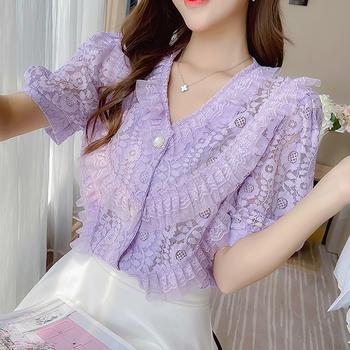Female Temperament Blusas Femininas Elegante 2020 New Crocheted Lace Blouse V-neck Half Sleeve Lace Top Women Blouse 219D v neck lace cuff top