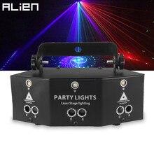 Alienígena 9 olho rgb discoteca dj feixe de luz laser projetor dmx remoto strobe efeito iluminação palco natal festa feriado luzes do dia das bruxas