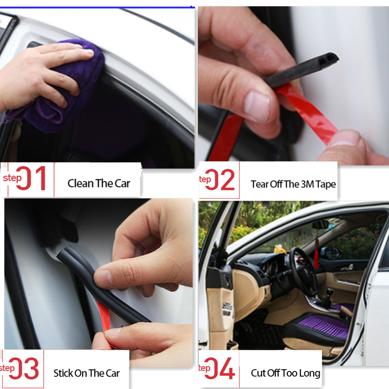 Car Door Seal Strips Sticker <font><b>B</b></font> Shape Weatherstrip Rubber for <font><b>Mercedes</b></font> W203 W211 W204 W210 W124 GLA Lexus IS250 RX300 RX350 RX NX image