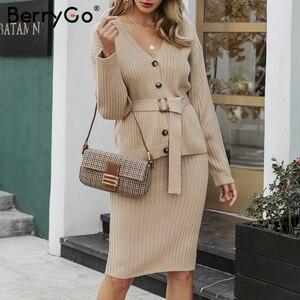 Image 5 - BerryGo שני חלקים נשים סרוג שמלת סט אלגנטי סתיו חורף סוודר שמלת חליפות ארוך שרוול כפתור sashes טהור חצאית חליפה