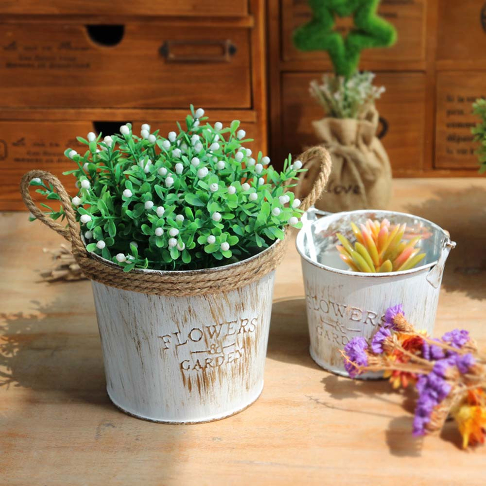 2 Pcs/lot Retro Iron Flower Bucket Pot With Jute Rope Handle Small Plant Flower Planter Holder Vintage Balcony Flower Tub