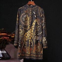Ziwwshaoyu Подиум дизайнер 100% хлопок Женская Длинная блузка с длинным рукавом с принтом жирафа кардиган топ модная рубашка