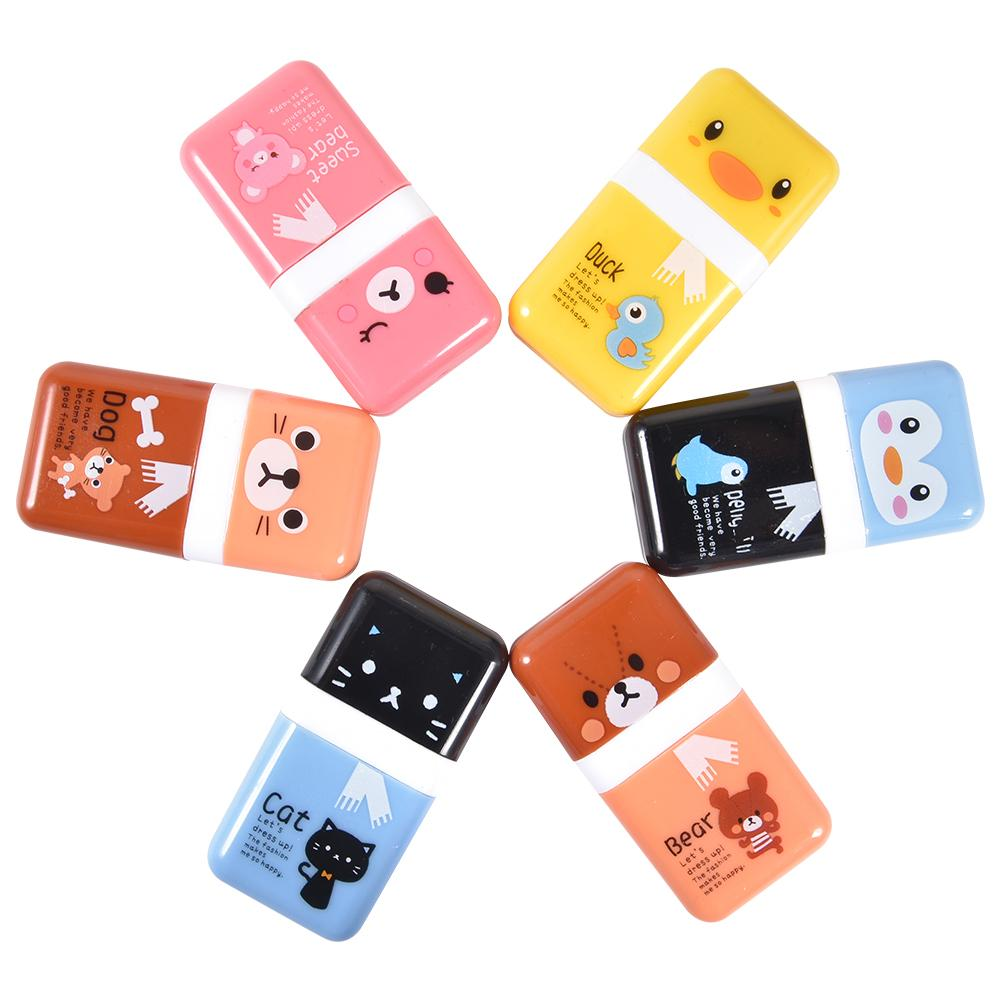 6 PCS Pencil Eraser Shaving Roller Case For Easy Pick Up Removal | Animal Themed Cute Fun Party Favor For School Supplies #CD