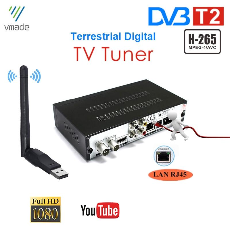 França itália alemanha dvb t2 digital terrestre tv receptor construir em rj45 h.265/hevc av porto tv sintonizador definir caixas superiores