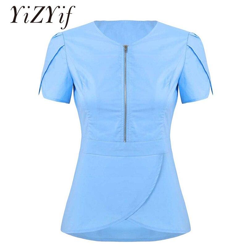 Women Healthcare Medical Uniform Scrub Tops Hostipal Dental Clinic Workwear V Neck Petal Short Sleeves Tulip Hem Nursing Uniform