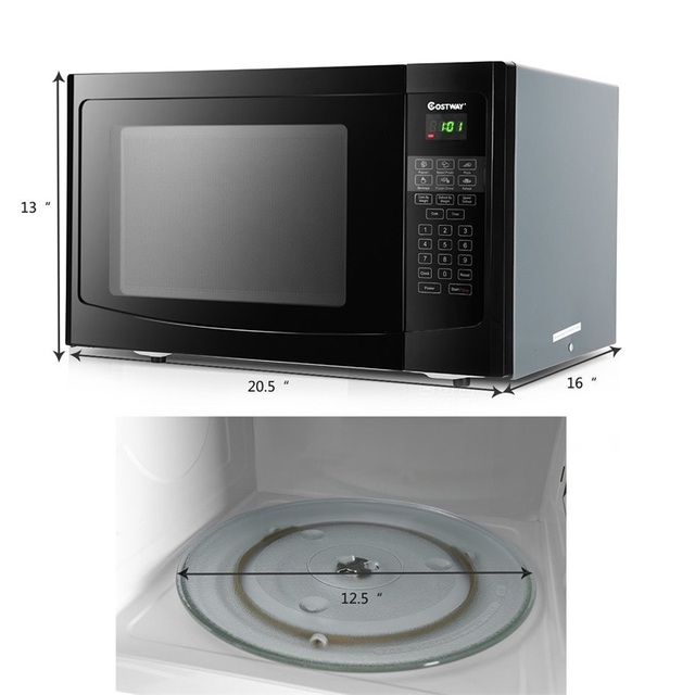 COSTWAY 1.1 CuFt Programmable Microwave Oven 1000W LED Display 6 Quick Cook Setting Sensor Reheating Microwave Ovens For Kitchen 6
