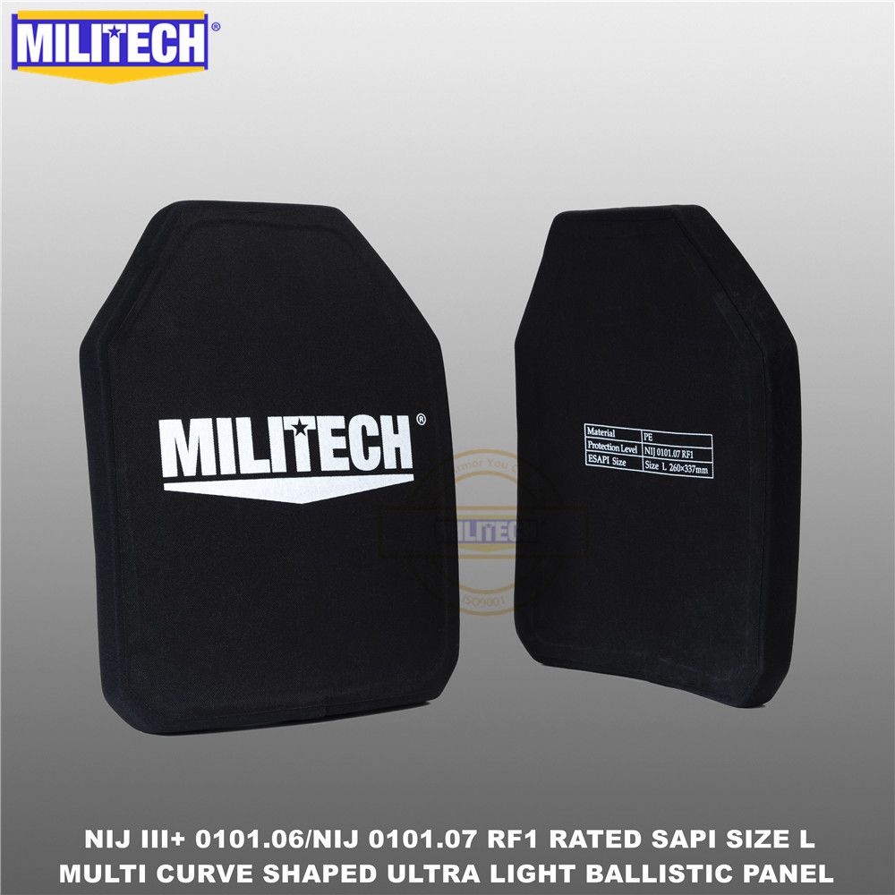 Ballistic Bulletproof Plate NIJ Level 3+ NIJ 0101.07 RF1 SAPI Sized 2 PCs Ultra Light PE Panel Against M80&AK47&M193--Militech