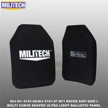 Ballistic Bulletproof Plate NIJ level 3+ NIJ 0101.07 RF1 SAPI Sized 2 PCs Ultra Light PE Panel Against M80&AK47&M193  Militech