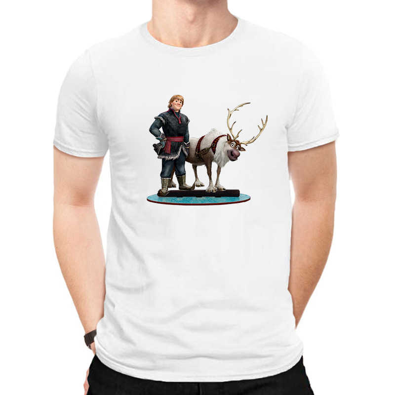 Luslos Mannen T-shirt Korte Mouw Casual Wit T-shirt Bevroren 2 Olaf Bedrukte T-shirts Mannelijke Harajuku Tee Tops Футболка Мужская