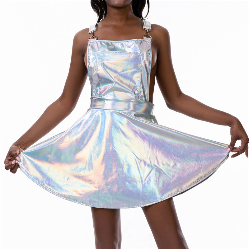 Glitter Laser Holographic A Line Dress Women Backless Criss Cross Buckle Strap Wet Look 2019 Fall Fashion Sexy Mini Dresses