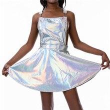 Glitter Laser Holographic A-Line Dress Women Backless Criss Cross Buckle Strap W