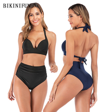 New Sexy Solid Color Bikini Women Swimsuit Backless Halter Swimwear S-3XL Girl High Waist Padded Bathing Suit Push Up Bikini Set