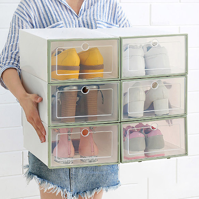 Transparent Plastic Shoe Box Flip Design Shoe Storage Artifact Home Storage Tool AC889(free Small Gift)