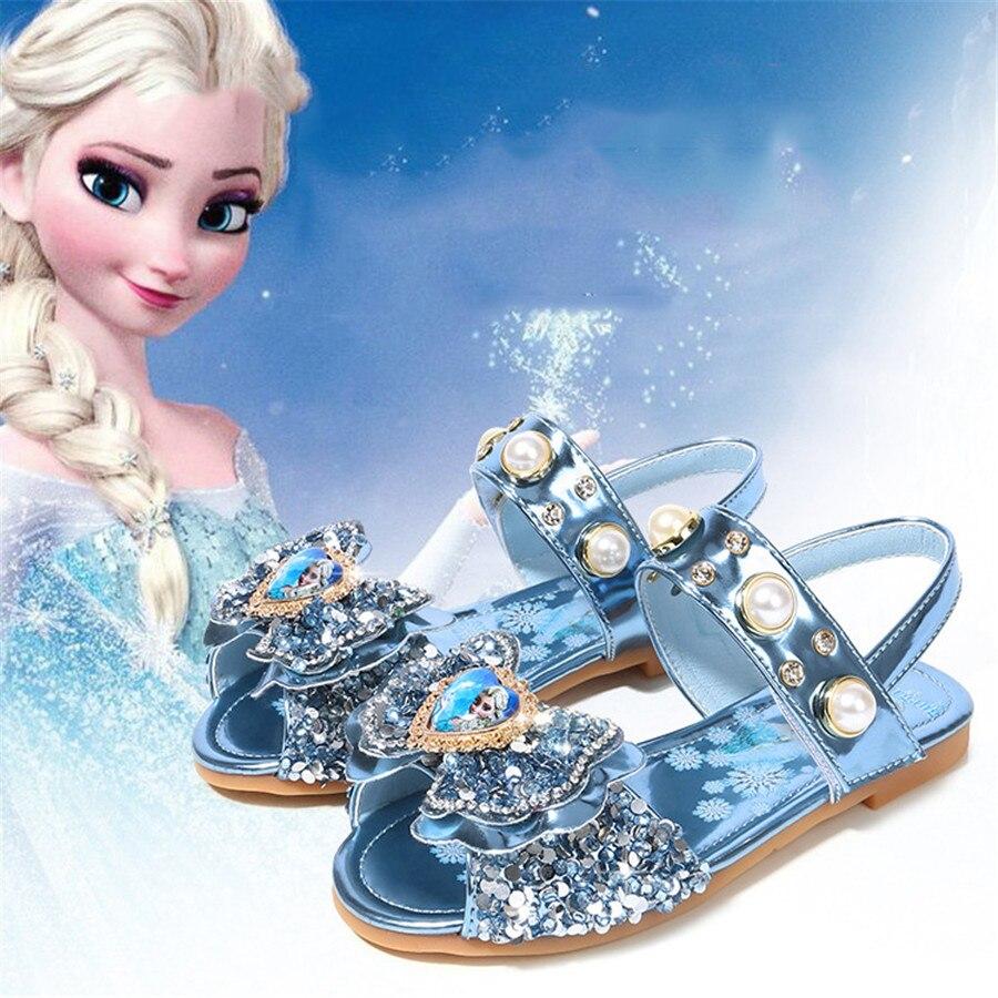2020Summer Kids Sandals Baby Girl Shoes Princess Aisha Girls Flat Soft Bottom Non-slip Crysta Cartoon Fashion Beef Tendon Party