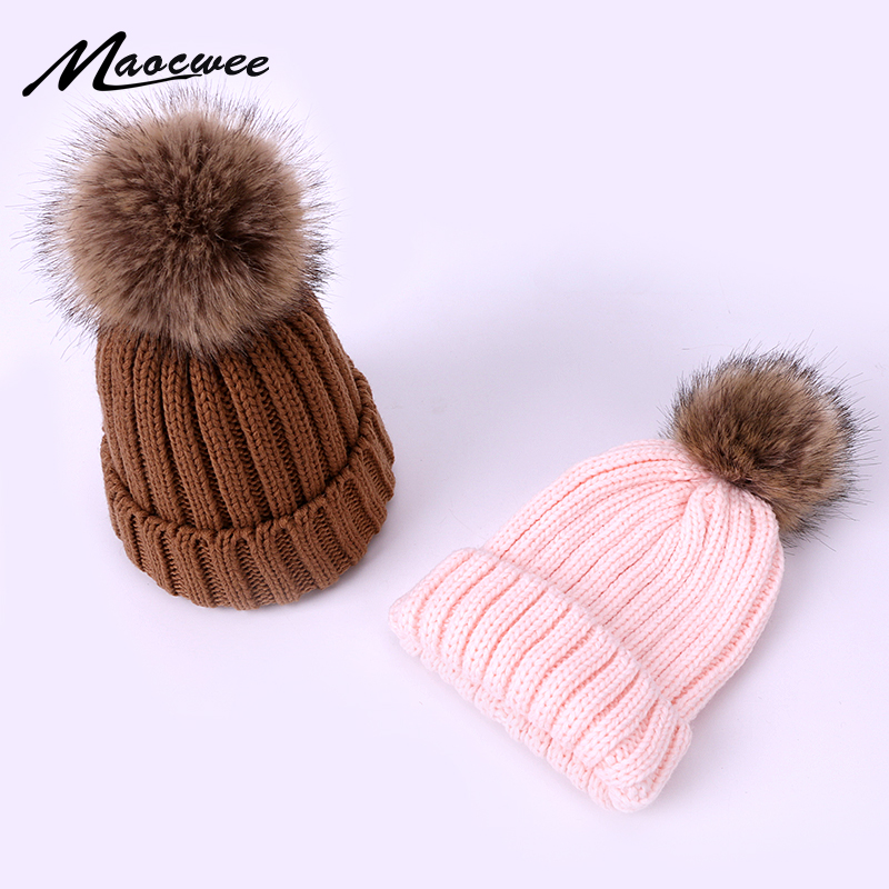 Children Adult Cap Beanies Caps PomPon Knitted Skullies Baby Hats Pure Colour Winter Warm Kids Hat Autumn Pure Colour Unisex