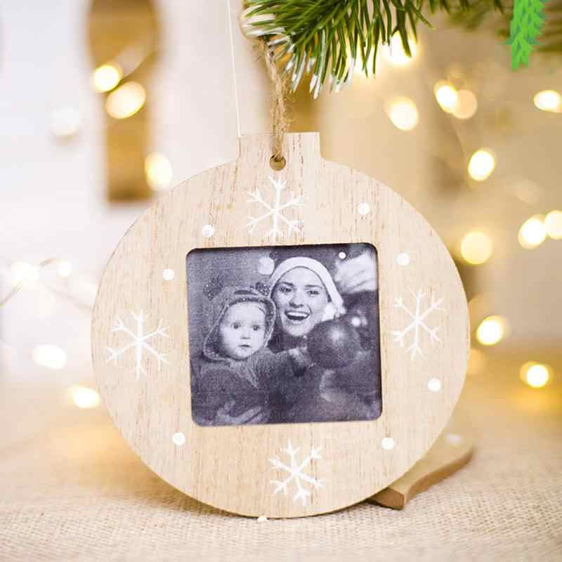 Wood Christmas Photo Frame Picture Holder Xmas Tree Ornaments Gifts Home Decor Environmental Protection and Durability