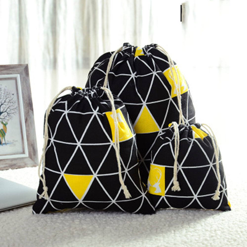 Casual Women Cotton Drawstring Shopping Bag Eco Reusable Folding Grocery Cloth Underwear Pouch Case Travel Home Store