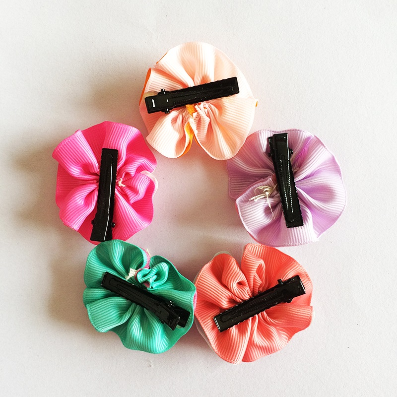 1 Pcs lot Multi color Ribbon Voile Bow Flower Hairpins Hair Barrettes Children Accessories Cute Girls Headwear Hair Clip in Hair Accessories from Mother Kids