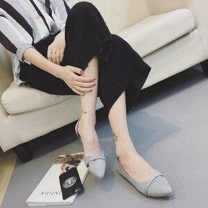Image 5 - BEYARNEWoman/простая прогулочная обувь без застежки на каблуке; Модная обувь из флока с закрытым носком; Zapatos; Большие Size35 46E740