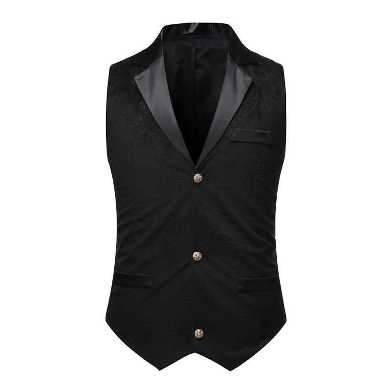 Mens Black Gothic Suit Vest 2020