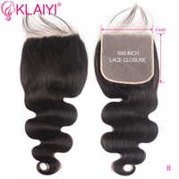 KLAIYI Brazilian 6*6 Closure Remy Hair Free Part Natural Black Color Human Hair Body Wave Lace Closure with Boby Hair