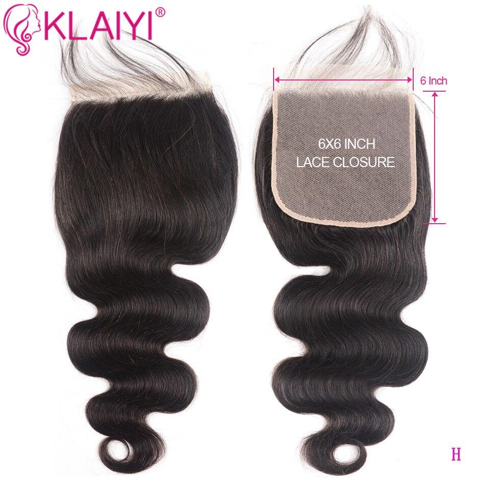 KLAIYI brasileño 6*6 cierre cabello Remy parte libre Color negro Natural cabello humano cuerpo onda Cierre de encaje con pelo Boby
