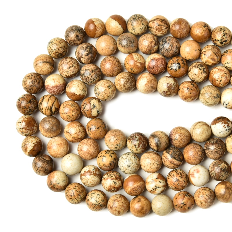 Factory Price Natural Picture Jasper Round Loose Stone Beads 15