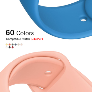 Soft Silicone Sport Band For 38mm Apple Watch Series1 2 3 4 5 42mm Wrist Bracelet Strap For iWatch band 40mm 44mm accessories(China)