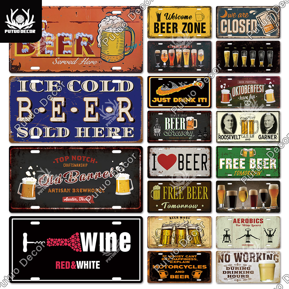 Putuo decoração cerveja sinal de metal estanho placa de metal do vintage placa de licença decoração bar pub homem caverna sala de estar parede decoração