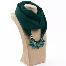 Austrian crystal  Pearl Chiffon Alloy Jewelry Necklace Scarf Womens Fashion in Spring Autumn Winter pendant scarf