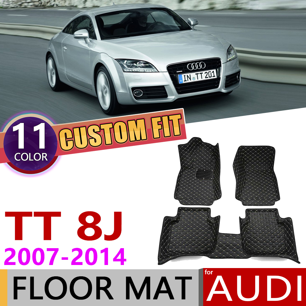 Custom Car Leather Floor Mats For Audi TT Coupe 8J MK2 2007~2014 4 Seats Auto Foot Pad Carpet Accessories 2008 2009 2010 2011