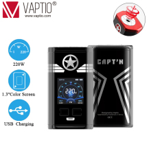 все цены на Original Vaptio CAPT'N 220W VAPE Box Mod Vaporizer For 510 Thread Vape 18650 Electronic Cigarette Mods Support RTA RDA RDTA онлайн