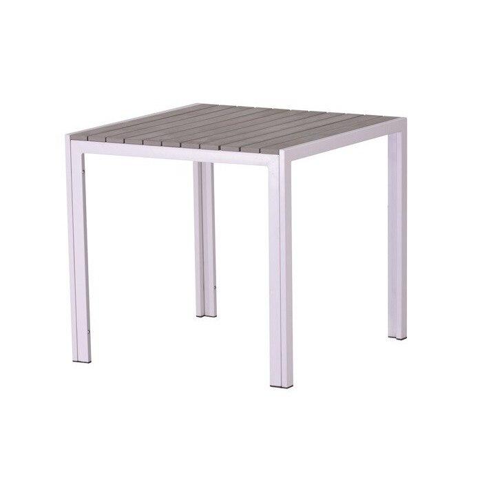 Table PLAYAMAR, White, Polywood Gray, 80x80 Cms