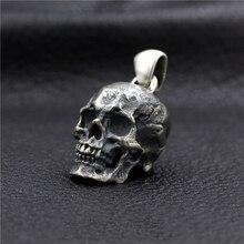 Large skull pendant 925 sterling silver handmade retro motorcycle punk domineering male pendant 925 sterling silver skull mens biker rocker punk pendant 9r009