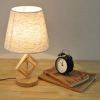 Creative Wooden Base Nordic Linen Lamp Simple Retro Table Lamp Bedside Living Room LED Desk Lamp 20*42cm Table Bedroom Lamp