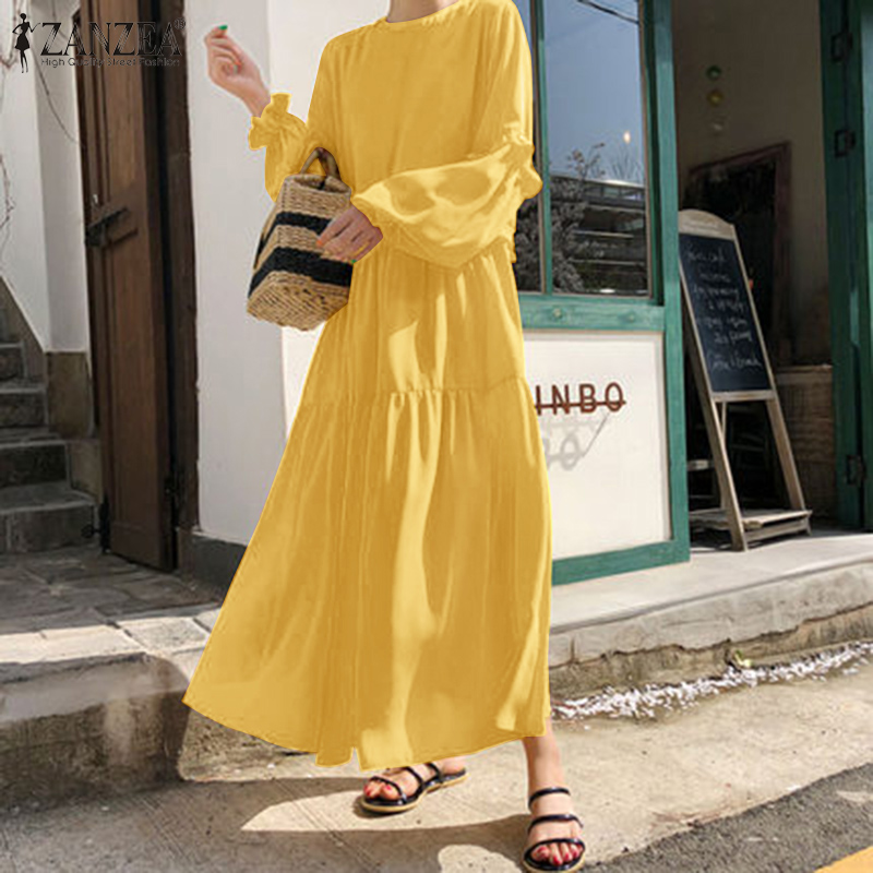 ZANZEA Stylish Women Elegant Ruffles Sundress Spring Solid Long Dress Plus Size Long Puff Sleeve Yellow Dresses Vestidos Robe