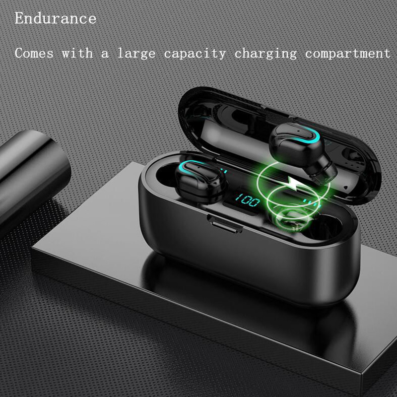 Wireless Bluetooth Headset 5.0 In-ear Intelligent Noise Reduction Waterproof Long Life LED Power Display Multi-function Charging