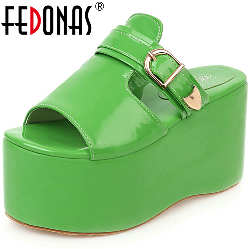 FEDONAS High Quality Summer Slip On Genuine Leather Women Sandals Thin Strap Buckle Women High Heels Party 2020 New Shoes Woman